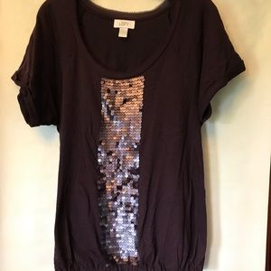 Purple top with sequins from Loft